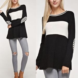 MONA Colorblock Striped Elbow Patch Top - BLACK
